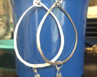 Aquamarine hammered teardrop hoops