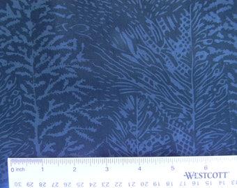 Gray/Blue With Black Print Batik Cotton Fabric