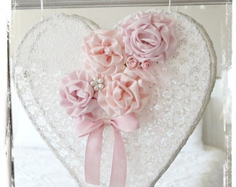 Heart shabby lace and a bouquet of flowers