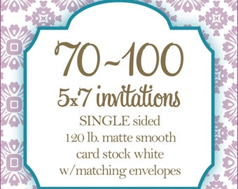 """70-100 Professionally Printed Invitations, Card stock, Invitations or Announcements, Any Design, 5x7"""""""