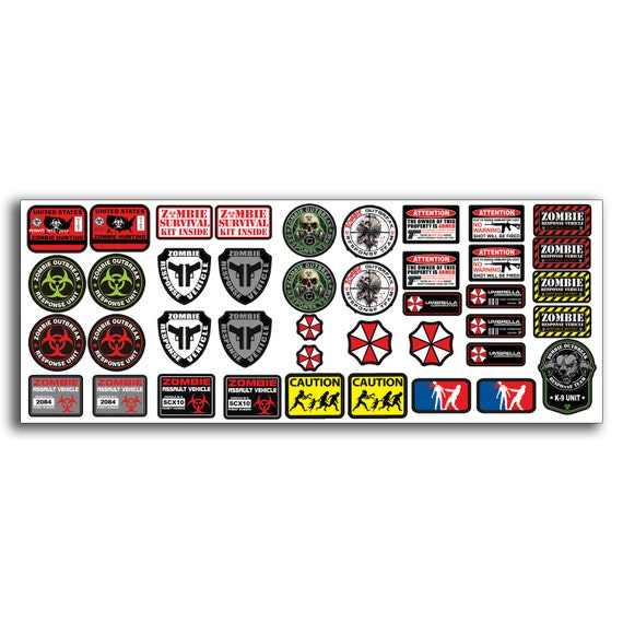 R c scale zombie decal stickers axial scx10 wraith crawler