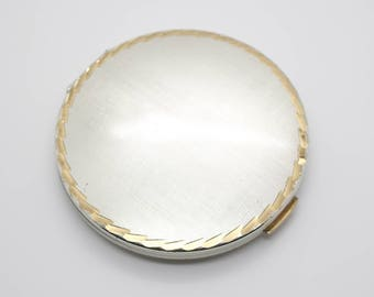 Vintage Engine Turned Etched Gold and Silver Tone Round Mirror Powder Compact by Stratton