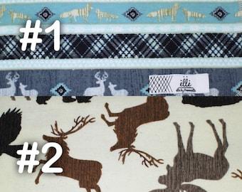 "Woodland Deer Wolf Bear Blue Tan Extra Large Receiving Blanket - 36"" x 42"""