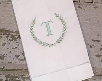 Embroidered Linen Hand Towel, Monogrammed Linen Guest Hand Towel, Laurel Wreath Towel