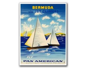 Travel Poster Bermuda Art Sailing Print Vintage Home Decor (H105)