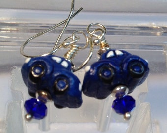Blue Volkswagen Beetle Earrings