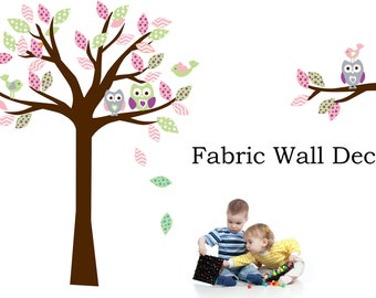 Owl Nursery Tree Decal - Animal Wall Decal fabric  - Tree Wall Sticker -owls forest custom colors