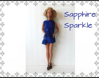 SUPERSIZE 18in  Barbie Doll Clothes SAPPHIRE SPARKLE Sexy Dress, hand-beaded Purse and Jewelry - by dolls4emma