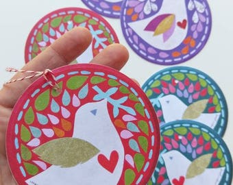 Set of 6 Gift Tag Ornaments, Paper Birds, Paper Ornaments, To and From Tags by Megan Jewel Designs, Holiday Gift Tags