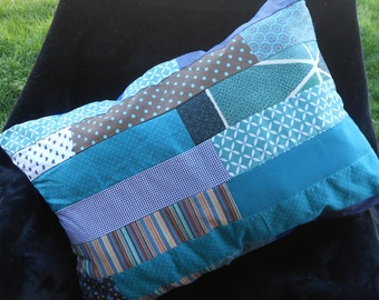 cushion 40 x 56 cm, colorful, patchwork fashion, modern and Bohemian chic, in shades of blue