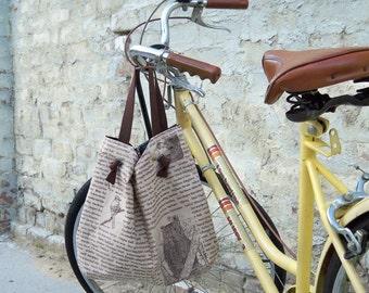 Brown Bird Bucket Bag, 2 Pockets, Key Fob