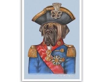 English Mastiff Art Print - the General - Military Dogs in Uniform - Dogs in Clothes Art - Pet Kingdom by Maria Pishvanova