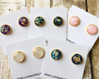 Opalescent Gold Foil Earrings