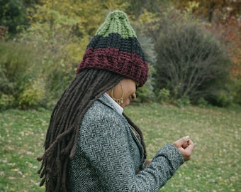 The Seven Ski Hat in Red Black & Green/Chunky Winter Hat/RBG Seven Ski/Chunky Crochet Hat