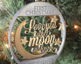 Love You To The Moon And Back | First Christmas Together | Christmas Tree Ornament | Free Gift Box