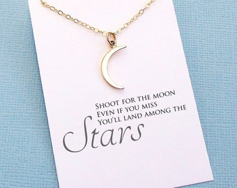 Graduation Gift | Inspirational Moon Necklace, Class of 2018 College Student Gift for Her, Medical Student Gift, Nursing Student | G09