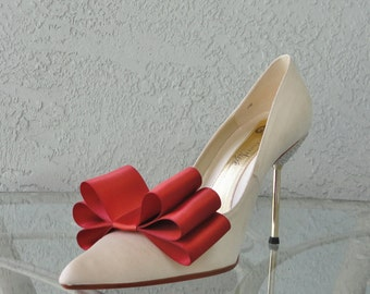 Rust Satin Ribbon Bow Shoe Clips Set Of Two, More Colors Available
