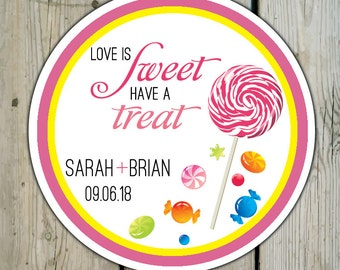 Round Custom Candy Favor Labels / Stickers - Lollipop & Candy Personalized Candy Wedding Favor Stickers / Shower / Birthday / Mitzvah