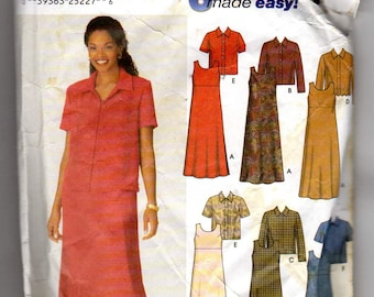 Simplicity 9890 size 18w 20w 22w and 24w a 1995 Womens Jacket and pull over a line dress or Jumper vintage sewing pattern a cut and unfolded