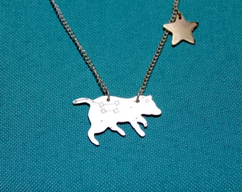 Ursa Major - silver bear necklace with constellation and gold star