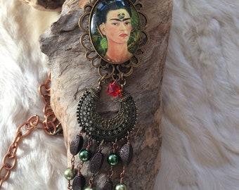 """Sautoir bohème ethnique, cabochon, perles en cristal et perroquets, """"Frida et ses perroquets"""""""