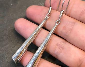 Vintage Sterling silver handmade earrings, solid 925 silver teardrop earrings, stamped 925, minimalist, simple, modernist