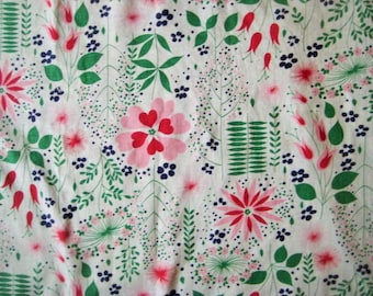 Authentic Vintage Floral Print Cotton Feedsack, Full Opened - Feedsack Fabric