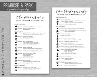 Bridal Party Timelines • Wedding Party Timelines • Wedding Schedule • Bridal Party • Wedding Party Itinerary