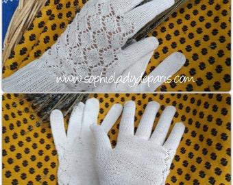 Vintage white French cotton Gloves Hand Knit Diamond Purl Size Medium 7.5 #sophieladydeparis