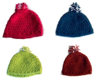 Pom Pom Newborn Crochet Hat Beanie Hat  Your Choice Of Color Crochet Baby Hat