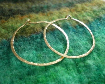 "Gold Hoops Small 1"" Classic Gold Hammered Hoops 14kt Gold Fill Hoop Earrings Wire Jewelry"