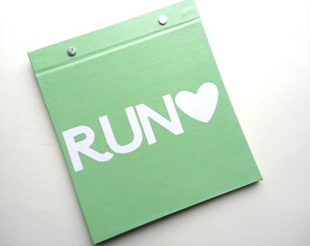 Race Bib Holder - Run Love (Heart) - Race Bib Book Hand-bound for Runners Pale green and White