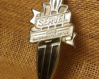 Vintage Servel Gas Refrigerator Chrome Emblem, 1950s Servel Brand Gas Ice Box Emblem, Used Emblem Vintage 1950s refrigerator, 1950s finds