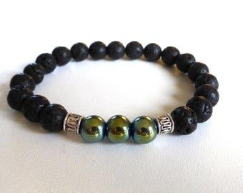 lava stone and hematite - mens jewelry mens bracelet