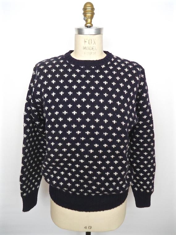 J.Crew Navy Pattern Wool Sweater / vintage 1990s JCrew blue &