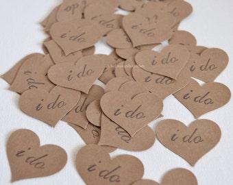 Wedding Confetti Hearts - I Do Confetti - Kraft or White Curvy Hearts - Paper Hearts Confetti - Wedding Decor - Table Scatter - Confetti 100