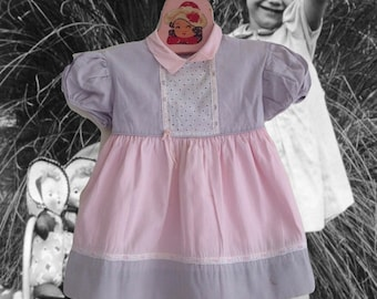 Vintage 40's Toddler Dress Patricia Ann Pink and Grey 18 Months Cotton Little Girl Puff Sleeves Retro Kids Clothing