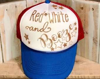 Red white and booze trucker hat