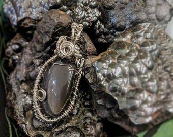 Black Moonstone Wire Wrap Pendant