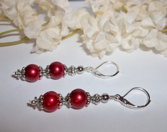 Jewelry Earrings Red Pearl Dangle Sterling Silver Leverback Lever Back Earwires Drop Gift For Mom Sister Friend Elegant Jewelry wvluckygirl