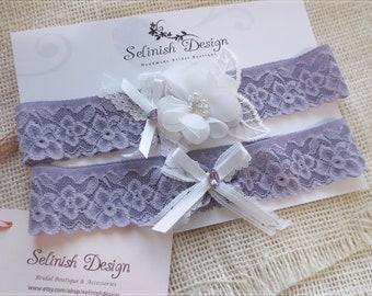 Lavender Wedding Garter, Purple Wedding Garter, Purple Wedding, Violet Garter, Garter Set, Lace Garter- G183lavender