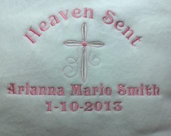 Christening Blanket / Baptism Blanket - Birth Blanket - Religious Blanket, Baby Blanket in god bless or Heaven sent