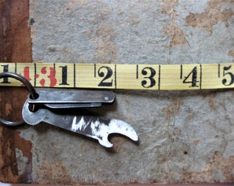 Vintage Rustic, Primitive Can Opener and Knife Key Ring