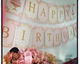 Cake Tea Party Custom Printable Party Happy Birthday Banner