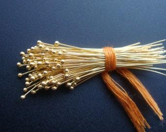 200 pcs, 26ga gauge, 50mm, 2 inch, Gold Vermeil Sterling Silver Handmade Ball End Headpins