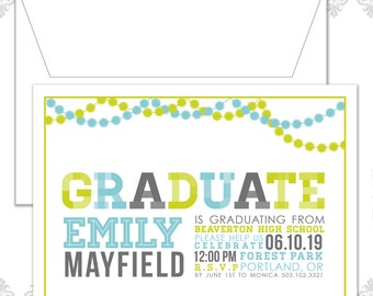 Modern Graduation Announcement Invitation, Graduation Party Invite, Graduation, Retro Grad Invite, Pom pom Garland, Garland, School Colors