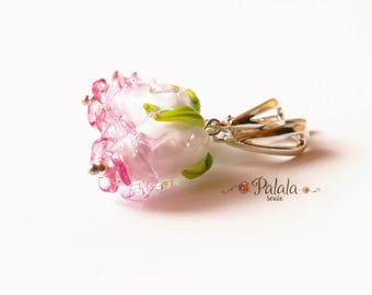 Lampwork Flower and Sterling Silver Earrings, Lampwork Earrings, Silver Earrings, Flower Earrings, Glass Earrings, Earrings with Lampwork