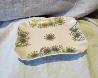 Haviland Platter, Blue and Gold Transferware, Scalloped Rectangular Serving Dish, Antique French China