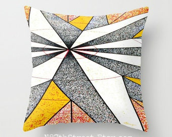 "LIFE'S COMPASS 16"" X 16"" Pillow Cover. Photo Art. Abstract Pattern. Red, White, Black, Gold. Mod, Cool, Hipster. North South East West."