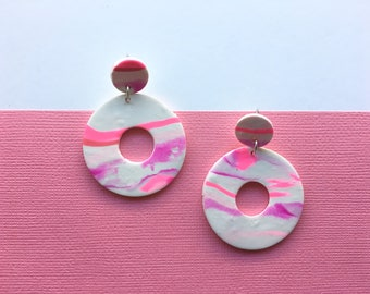 Strawberry Fields Pink Marbled Dangles